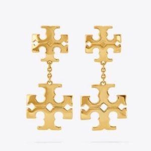 Tory Burch Gold Kira Linear Double Logo Earrings